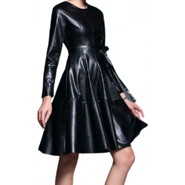 Womens Long Sleeve Genuine Sheepskin Black Leather Dress