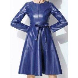 Womens Long Sleeve Genuine Sheepskin Blue Leather Dress
