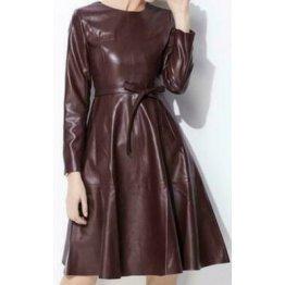 Womens Long Sleeve Genuine Sheepskin Brown Leather Dress