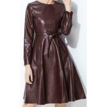 Womens Long Sleeve Genuine Sheepskin Brown Leather Dress