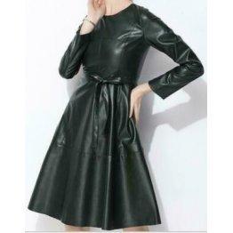 Womens Long Sleeve Genuine Sheepskin Green Leather Dress