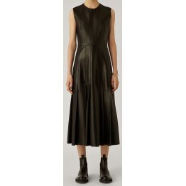 Womens New Fashion Sleeveless Real Sheepskin Black Leather Dress