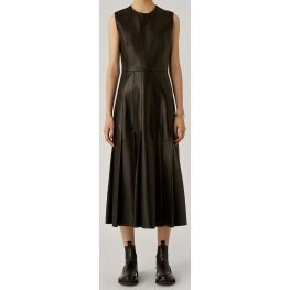 Womens New Fashion Sleeveless Real Sheepskin Black Leather Dress