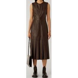 Womens New Fashion Sleeveless Real Sheepskin Brown Leather Dress
