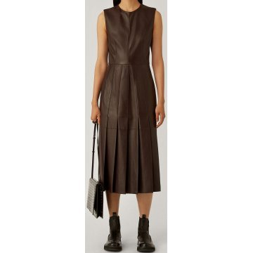 Womens New Fashion Sleeveless Real Sheepskin Brown Leather Dress