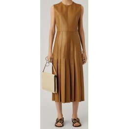Womens New Fashion Sleeveless Real Sheepskin Tan Leather Dress