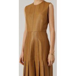 Womens New Fashion Sleeveless Real Sheepskin Tan Leather Dress