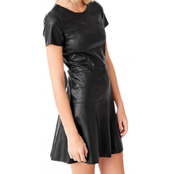 Womens O-Neck Short Sleeve Real Sheepskin Black Leather Dress