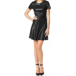 Womens O-Neck Short Sleeve Real Sheepskin Black Leather Dress