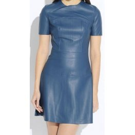 Womens O-Neck Short Sleeve Real Sheepskin Blue Leather Dress