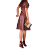 Womens O-Neck Short Sleeve Real Sheepskin Burgundy Leather Dress