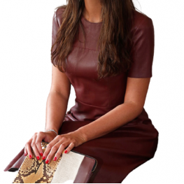 Womens O-Neck Short Sleeve Real Sheepskin Burgundy Leather Dress