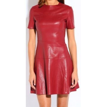 Womens O-Neck Short Sleeve Real Sheepskin Red Leather Dress