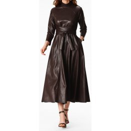 Womens Obi Belt Style Real Sheepskin Brown Leather Dress