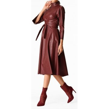 Womens Obi Belt Style Real Sheepskin Burgundy Leather Dress