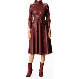 Womens Obi Belt Style Real Sheepskin Burgundy Leather Dress