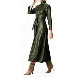 Womens Obi Belt Style Real Sheepskin Olive Green Leather Dress