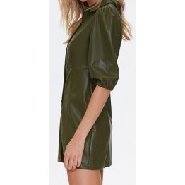 Womens Shirt Style Real Sheepskin Olive Green Leather Dress