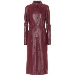 Womens Spread Collar Real Sheepskin Burgundy Leather Dress
