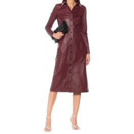 Womens Spread Collar Real Sheepskin Burgundy Leather Dress