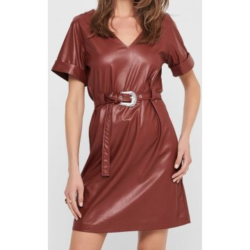 Womens Stylish Belted Real Sheepskin brown Leather Dress