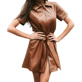 Womens Trendy Real Sheepskin Brown Leather Dress