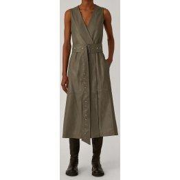 Womens V-Neck Wrap Style Real Sheepskin Gray Leather Dress