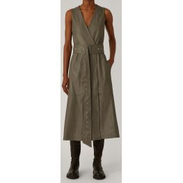Womens V-Neck Wrap Style Real Sheepskin Gray Leather Dress