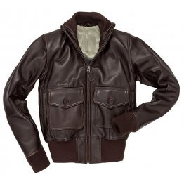 Womens Classic Brown Leather Bomber Jacket