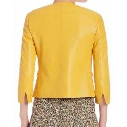 Awesome Collarless Original Sheepskin Womens Yellow Leather Jacket