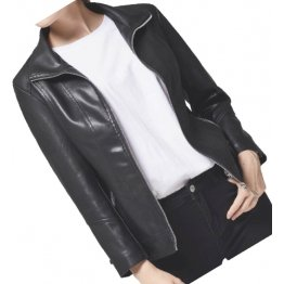 Casual Fashion Ladies Real Sheepskin Black Leather Jacket