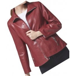 Casual Fashion Ladies Real Sheepskin Red Leather Jacket