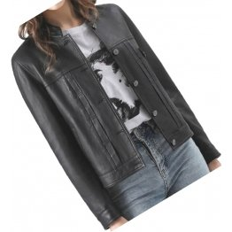 Cool Look Girls Real Sheepskin Black Leather Jacket