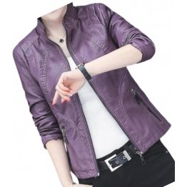 Girls Beautifully Crafted Original Lambskin Purple Leather Jacket Coat