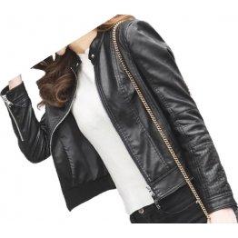 Girls Casual look original goatskin black leather jacket