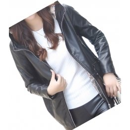 Girls Cool Fashion Hooded Real Sheepskin Black Leather Jacket Coat