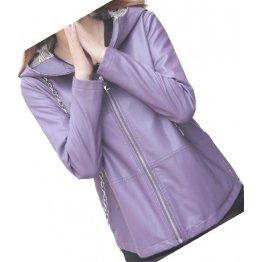 Girls Cool Fashion Hooded Real Sheepskin Purple Leather Jacket Coat