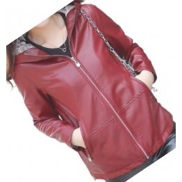 Girls Cool Fashion Hooded Real Sheepskin Red Leather Jacket Coat