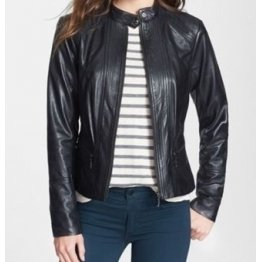 Girls Cool Style Genuine Lambskin Navy Blue Leather Jacket