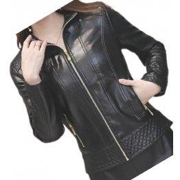 Girls Edgy Fashion Genuine Lambskin Black Leather Jacket Coat