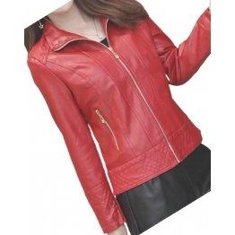 Girls Edgy Fashion Genuine Lambskin Red Leather Jacket Coat