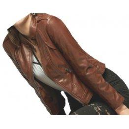 Girls Fabulous Design Real Sheepskin Brown Leather Jacket