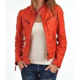 Girls Fresh Look Genuine Lambskin Orange Leather Jacket