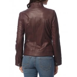 Girls Great Style Genuine Lambskin Brown Leather Jacket