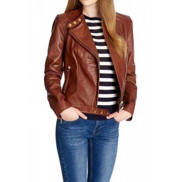 Girls New Fashion Original Lambskin Brown Leather Jacket