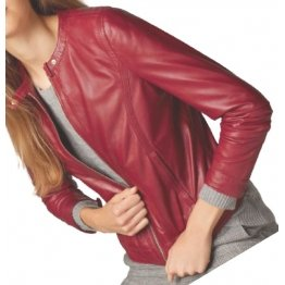 Girls New Look Collarless Real Lambskin Red Leather Jacket