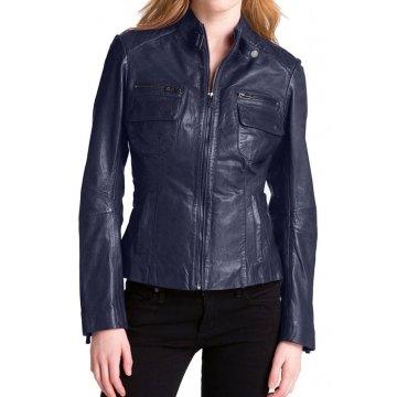Girls New Trendy Look Genuine Lambskin Navy Blue Leather Jacket