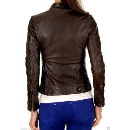 Girls Smart Look Real Lambskin Dark Brown Leather Jacket