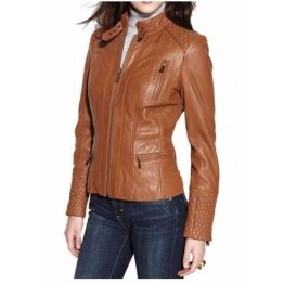 Girls Trendsetter Authentic Lambskin Brown Leather Jacket