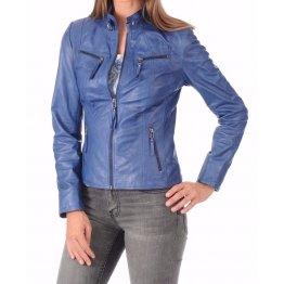 Girls Trendsetter Real Goatskin Blue Leather Jacket